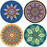 """ENKORE Absorbent Ceramic Stone - Coasters For Drinks 4 Pack, 4.3"""" Functional Area With Cork Back, Larger Than Standard Size, No Holder - 4 MANDALA Designs In 1 Set, Protect Furniture From Water Rings"""