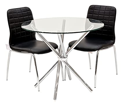 Febland Criss Cross Dining Table with 2 Checkers Dining Chairs, Glass, Chrome/Black