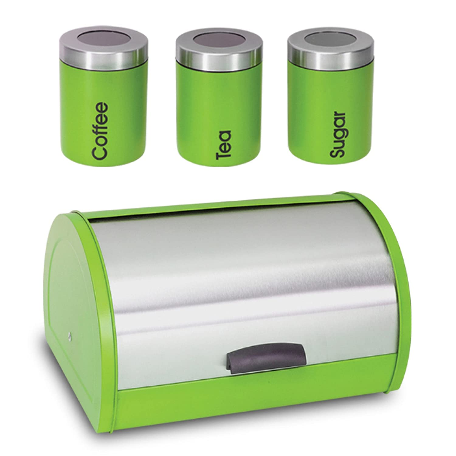 Details about 4Pcs Green or Orange Bread Bin Set Stainless with Tea