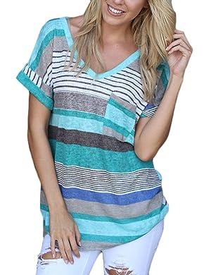 eshion Women V-neck Casual Short Sleeve T-shirt Blouse Tees Tops (M, Blue)