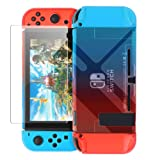 Dockable Cover Case Compatible with Nintendo Switch,Protective Case Compatible Nintendo Switch with Screen Protector Compatible Nintendo Switch - Blue Red (Color: Blue and red)