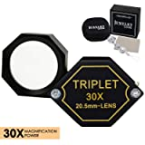 30x Magnification Jeweler Loupe Achromatic Triplet Lens 20.5mm Optical Glass Hexagonal Design Black Gem Jewelry Pocket Magnifier Tool (Color: 30x Magnification Power)