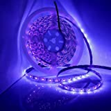 UV/Ultraviolet Black Light LED Strip Light Waterproof IP65, Flexible LED Lighting String with 12V 2A Power Supply, 300 Units 3528 LEDs 5 meters (Color: Purple KIT(include power supply))