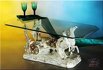 Designer Couchtisch Ben Hur White ArtDeco Wohnzimmertisch Tisch Glastisch Luxusmöbelel