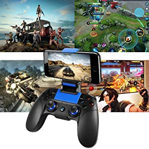 Mobile Game Controller, PowerLead PG8718 Wireless 4.0 Game Controller Compatible with iOS Android iPhone iPad Samsung Galaxy (Color: 8718 Blue)