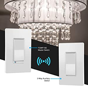 TOPGREENER Smart Wi-Fi Light Switch 3-Way Kit, Includes Wi-Fi Switch/Decorator Switch, Control Lighting Anywhere, NEUTRAL Wire Required, No Hub Required, Compatible with Alexa/Google Assistant 2 Pack (Color: White Smart Switch 3-Way Kit, 2 Pack, Tamaño: Wi-Fi Light Switch Kit)