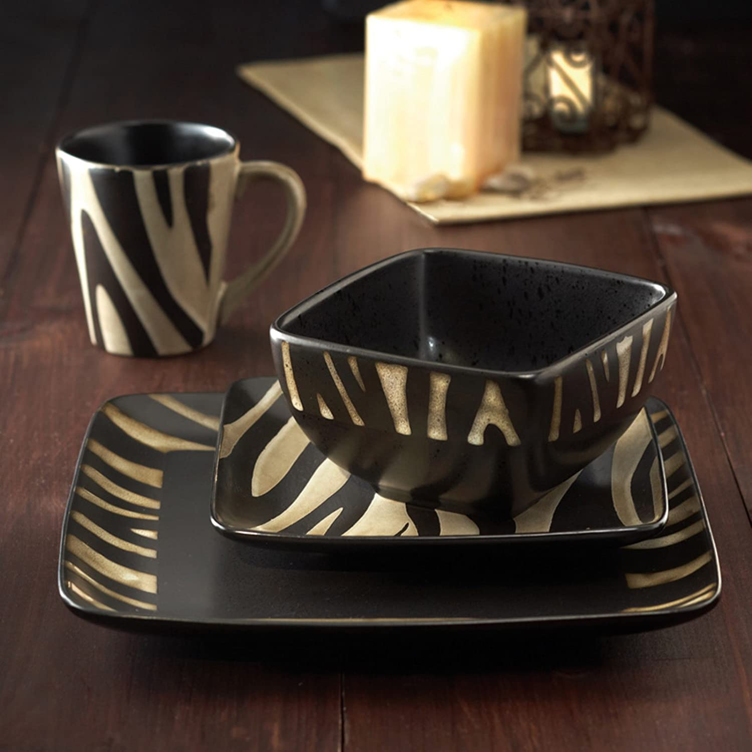 Safari Zebra White 16 Piece Dinnerware Set