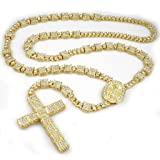 Niv's Bling - 14K Gold Plated Rosary - Iced Out Square Chain – Hip Hop Necklace, 36 Inches (Color: gold)