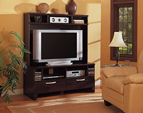 Inland Empire Furniture Ragnar Cappuccino Solid Wood Flat Panel TV Entertainment Center