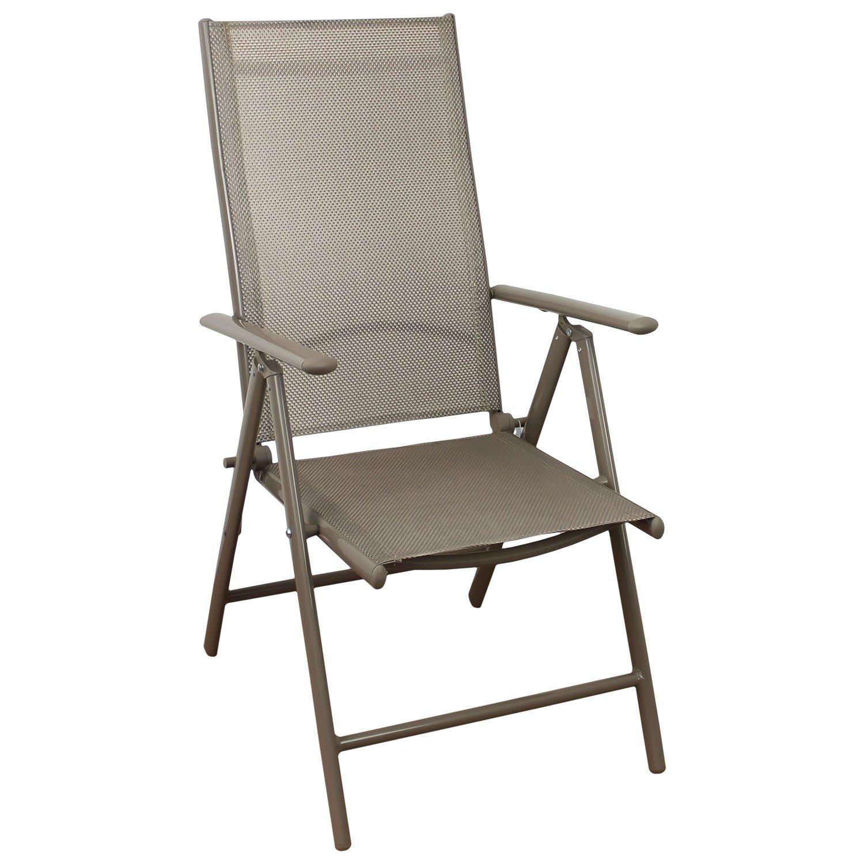 Aluminium Hochlehner, hochwertige 4×4 Textilenbespannung, 8-fach verstellbar, klappbar, Champagner – Gartenstuhl Liegestuhl Positionsstuhl Klappstuhl Gartenmöbel Terrassenmöbel Balkonmöbel günstig kaufen
