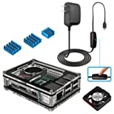 Miuzei Raspberry Pi 3B+ Case with Fan Cooling and 3× Heat-Sinks, 5V 3A Power Supply with On/Off Switch Cable for RPi 3B+, 3B, 2b (Color: Black-Clear Case)