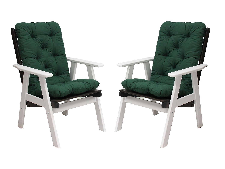 Ambientehome 90487 2er Set Hochlehner Varberg weiß/taupe grau braun inkl. grüne Auflage Gartenstuhl Holzstuhl ANGEBOT online bestellen