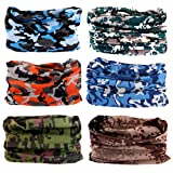 Toes Home 6PCS Outdoor Magic Headband Sport Camouflage Headwear Elastic Seamless Bandana Scarf UV Resistence for Yoga Hiking Riding Motorcycling (Color: Camouflage Painting series 1)