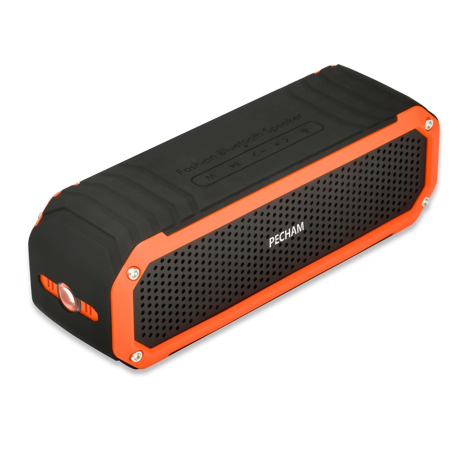 PECHAM C26 Waterproof Speaker Bluetooth 4.0 Shower Speakers Dual 5W Drivers 10 Hour Playtime, Outdoor Portable Speakers with Flashlight, Universal Compatibility for Android, iPhone and More, Orange