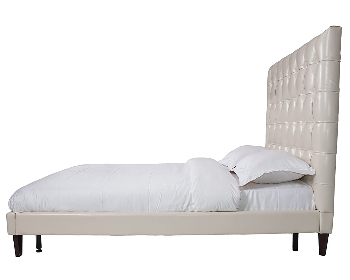 Iconic Home Beethoven PU Leather Modern Contemporary Button Tufted Bed Frame, Cream White, King Size