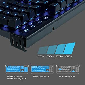 ROSEWILL Clicky Mechanical Gaming Keyboard with Cherry MX Blue Switch RK-9300 Backlit Blue LED Gaming Mechanical Keyboard /& 104 Key Full Size Gamer Keyboard for PC /& Computer