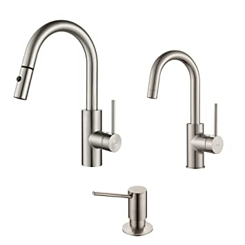 Kraus KPF-2620-2600-41SS Modern Mateo Pull Down Kitchen Faucet with Bar/Prep, SD Stainless Steel