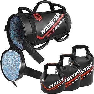Meister 50lb Elite Fitness Sandbag Package w/ 3 Removable Kettlebells - Black (Color: Black, Tamaño: 50 Pounds (23kg))