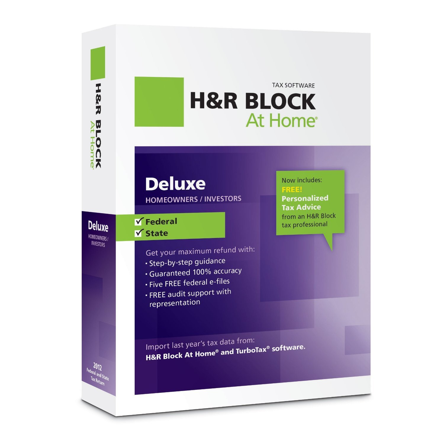H&R Block At Home 2012 Deluxe + State $23.99
