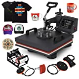 Mophorn Heat Press 15x15 Inch 5pcs Heat Press Machine 1050W Multifunctional Sublimation Dual LED Display Heat Press Machine for t Shirts Swing Away Design (15x15Inch, 5IN1 Element) (Color: Black, Tamaño: 15x15INCH/5IN1)