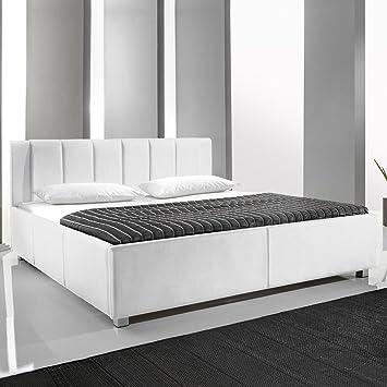 Polsterbett Kunst-Lederbett Weiß 140x200 cm Doppelbett Bettgestell Komforthöhe Mainz-2
