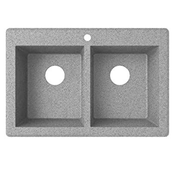 Swaoi|#Swanstone QZ03322SQ.173 22-In X 33-In Granite Kitchen Sink 1-Hole, Metallico,