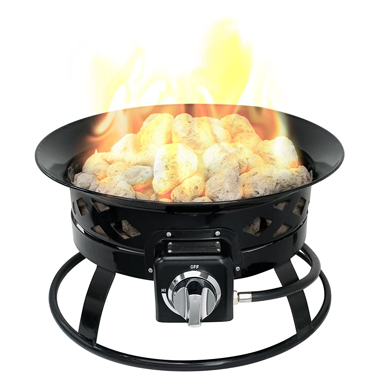 "Sunward Patio Portable Outdoor 58,000 BTU Propane Fire Pit / 19"" Fire bowl / Lava Rocks, Carry Handle, Lid and Weather Resistant Bag Included!"
