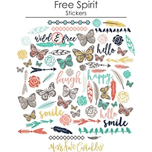 Paper & Sticker Kit - Free Spirit - 17 Double-Sided 12x12 Papers with 33 Designs & 1 8X12 Sticker Sheet - Scrapbooking Card Making Crafting - by Miss Kate Cuttables (Tamaño: 12-x-12-Inch)