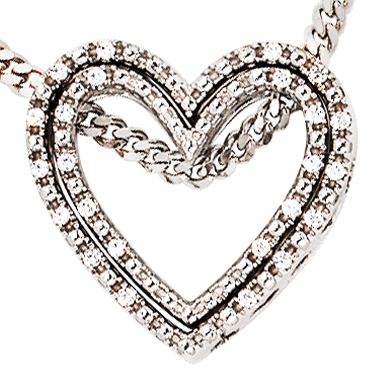 Damen Gold Anhänger Herz 585 Gold Weißgold 24 Diamanten Brillanten 0,10ct. günstig kaufen