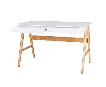 Design Twist wehe028bi bureau, MDF/oak, White/oak, 120x 70x 75cm