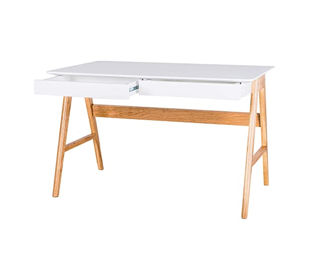 Design Twist WEHE028BI Scrivania, Mdf/Oak, White/Oak, 120 x 70 x 75 cm