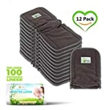 Naturally Natures Cloth Diaper Inserts 5 Layer - insert - Charcoal Bamboo Reusable Liners with Gussets (Pack of 12) INCLUDES 100 DISPOSABLE LINERS (Color: Gray, Tamaño: 12-Pack)