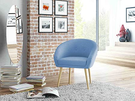 Loungestuhl, Loungesessel, Relaxstuhl, Relaxsessel, Clubsessel, TV-Sessel, Ruhesessel, Fernsehsessel, Wohnzimmersessel, Webstoff, Stoff, blau, Holz
