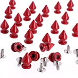 RUBYCA 12MM 100 Sets Metal Tree Spikes and Studs Metallic Screw-Back for DIY Punk Leather-Craft Red (Color: Red, Tamaño: 100 PCS)