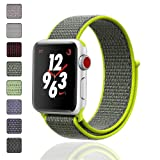 iMoway Apple Watch Band 38mm/42mm Sport Loop iWatch Band (Adjustable Velcro) for Apple Watch Series 1/2/3 Sport Edition (Color: Black&Yellow, Tamaño: 42mm)