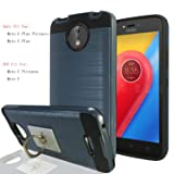 Moto C Plus / Motorola Moto C Plus Pictures Case With Phone Stand,Ymhxcy [Metal Brushed Texture] Hybrid Dual Layer Full-Body Shockproof Protective Cover Shell For Moto C Plus-LS Metal Slate