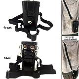 Black Hard Leather Carrying Holder Holster Case with Adjustable Shoulder Strap Compatible for Yaesu ICOM Kenwood Two Way Radios TK3107 TK3207 TK2107 TK2207 Walkie Talkie, by Lsgoodcare