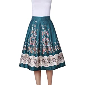 Women's A Line Fashion 3D Floral High Waisted Midi Flare Umbrella Skirt Green