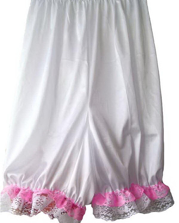 Frauen Handgefertigt Halb Slips UL4WH WHITE Half Slips Nylon Women Pettipants Lace