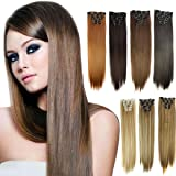 WensLTD_ Clearance! 6Pcs Full Head Natural Women 16 Clips Synthetic Straight Hair Extensions (C) (Color: C, Tamaño: Length:Approx.24 inch 60 cm)