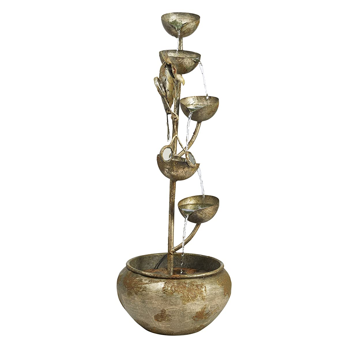 Water Fountain - Nearly 3 Foot Tall Whooos Watching Owl Decor Metal Fountain - Outdoor Water Feature