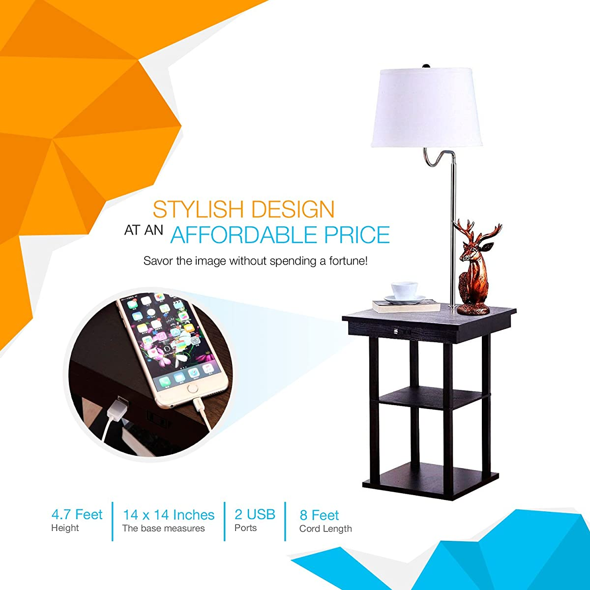 Brightech Madison LED Floor Lamp With Built In Black Table And Shelf U2013  Multi Purpose