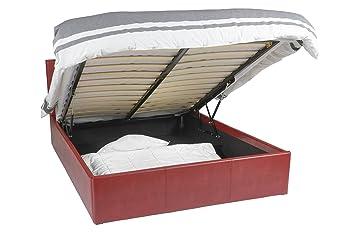 Ottoman cama - 140x190 - vino rojo - Cama con espacio de almacenamiento, fácil de usar, fácil de montar, gran calidad, diseño atemporal, imitación de cuero, 1 año de garantía