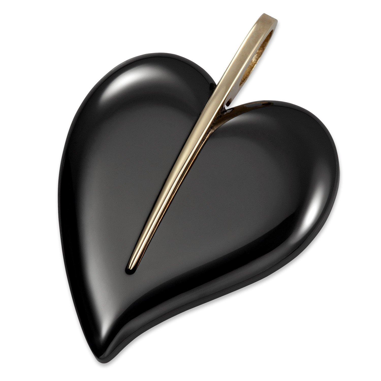 1400°C Damen-Anhänger Herz aus Keramik schwarz mit Zierelement aus 585/- Gelbgold günstig online kaufen