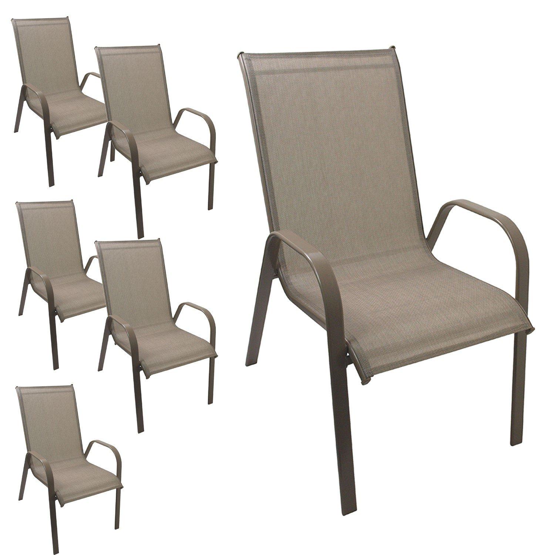 6 Stück Gartenstuhl stapelbar Gartensessel Stapelstuhl Stapelsessel Stahlgestell pulverbeschichtet mit Textilenbespannung Gartenmöbel Terrassenmöbel Balkonmöbel Champagner bestellen