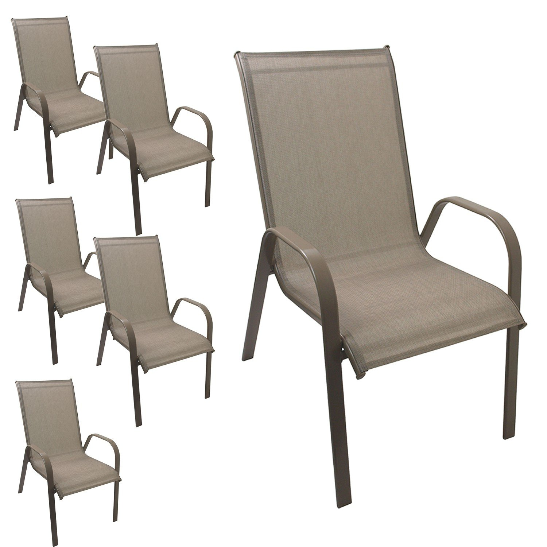 6 Stück Gartenstuhl stapelbar Gartensessel Stapelstuhl Stapelsessel Stahlgestell pulverbeschichtet mit Textilenbespannung Gartenmöbel Terrassenmöbel Balkonmöbel Champagner günstig online kaufen