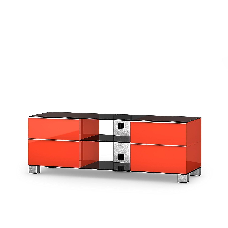 Sonorous MD 9340-B-INX-RED Fernseher-Möbel mit Schwarzglas (Aluminium Inox, Korpus Hochglanzdekor) rot