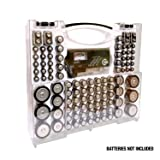 Battery Pro Organizer & Tester, Holds 100 Assorted Batteries - White (Color: White)