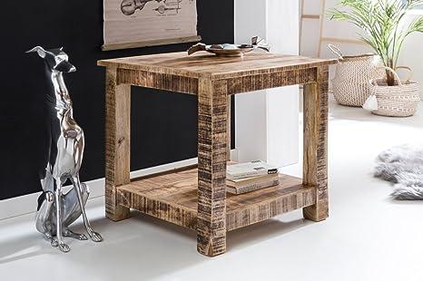 WOHNLING Wohnzimmertisch RUSTICA Massiv Holz 60 x 60 x 60 cm Beistelltisch 2 Ablageflächen | Design Couchtisch Massivholz Mango Natur | Kleiner Tisch Wohnzimmer