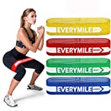 EveryMile Resistance Bands for Legs and Butt, Fabric Exercise Bands Set Non-Slip Booty Bands, Hip Workouts, Pilates, Fitness and Strength Training, Resistance Loops Bands for Men & Women, 4 Packs